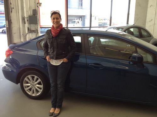 Me and my new blue Honda Civic